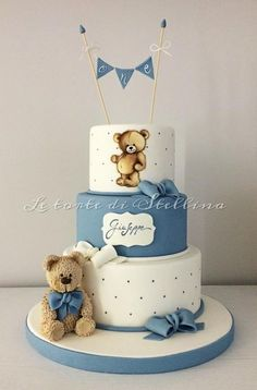 First birthday for boy! First birthday for boy! Torta Baby Shower, Baby Shower Cakes For Boys, Baby Boy Cakes, Baby Shower Themes, Baby Boy Shower, Baby Shower Decorations, Baby Boy Birthday Cake, Teddy Bear Birthday, 1st Birthday Cakes