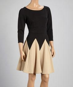 Another great find on #zulily! Black & Taupe Color Block Fit & Flare Dress #zulilyfinds