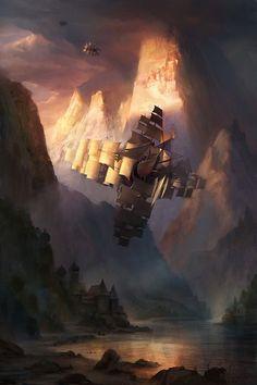 Steam On ❀Steampunk — fantasy-art-engine:   Wind Ship by Adam Paquette
