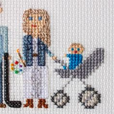 2 Adults A Child A pet. Custom Cross Stitch by RussianStitches