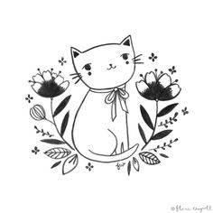 Flora Waycott - Inktober Day 9 - I'm so glad it's Friday! This plump little kitten is happy that it's Friday too! Illustration Photo, Graphic Design Illustration, Watercolor Illustration, Planet Drawing, Cat Tattoo Designs, Animal Sketches, Art Sketchbook, Doodle Art, Cat Art