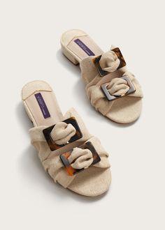 Brooches linen-blend sandals
