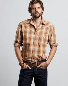 Woodbury Western Shirt - Retro meets modern cowboy cool: that's the heritage of our Western shirts for men. Rugged details and timeless design make our poplin plaid Woodbury Western shirt a strong choice for any season, whether you're on the range or city streets. Add well-worn Lucky denim and a vintage belt; roll the sleeves for milder temps (and some casual kick).