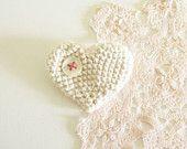 Etsy Transaction - Creamy Crocheted Heart Brooch/ Pin on Etsy