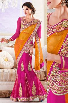 Net Purple, Orange Designer Party Wear Saree with