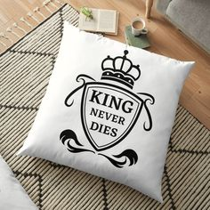King Never Dies ! - Get yourself a funny custom desing from RIVEofficial Redbubble shop : )) .... tags: #king  #kingneverdies  #royalty #power #coatofarms # funny #humour #giftideas #crown #powerful #kingdom #findyourthing #shirtsonline #trends #riveofficial #favouriteshirts #art #style #design #nature #shopping #insidecollection #redbubble #digitalart #design #fashion #phonecases #access #customproducts #onlineshopping #accessories #shoponline #onlinestore #shoppingonline Floor Pillows, Throw Pillows, Funny Humour, Pin Pin, Coat Of Arms, Never, Custom Design, King, Cool Stuff