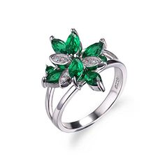 JewelryPalace Flower Shape 13ct Emerald Cocktail Ring 925 Sterling Silver Size 7 ** Check this awesome product by going to the link at the image.Note:It is affiliate link to Amazon.