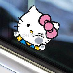 4PCS Door Handle Pink Bow Black Hello Kitty Car Decals Sticker New Motors