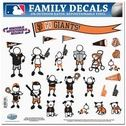 San Francisco Giants - 11x11 Large Family Decal Set includes 25 individual family themed decals on one sheet that each feature the team logo. The decal set is made of outdoor rated, repositionable vinyl for durability and easy application.  Decals are perfect for car windows, mirrors, metal lockers, scrapbooking, electronics and much more.