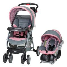 Pink n grey travel system