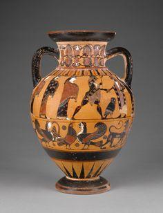 Euboean Black-Figure Neck Amphora; Unknown; Euboea, Greece; about 570 - 560 B.C.; Terracotta.