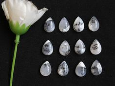 12Pcs  59Cts. 100% Natural Dendrite Agate Pear  Cabochon 14x10mm Jewelry Making Dendrite opal Genuine Loose Gemstone Smooth Cut Polish Stone by zakariyagems on Etsy