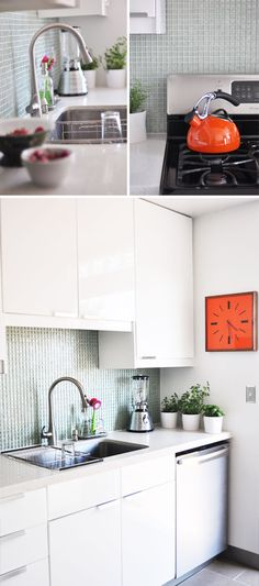 Kitchen cabinets, backsplash