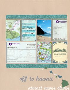 Layout: Wedding Scrapbook, Off to Hawaii Layout Hawaii Honeymoon Scrapbook Layout 6 Travel Scrapbook Pages, Paper Bag Scrapbook, Vacation Scrapbook, Wedding Scrapbook, Scrapbook Sketches, Scrapbook Page Layouts, Scrapbook Supplies, Scrapbook Cards, Anniversary Scrapbook