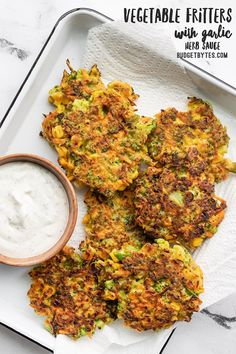 Use up your leftover frozen and fresh vegetables in this easy and flavorful vegetable fritters recipe, with a side of homemade garlic herb dipping sauce! Healthy Recipes, Vegetarian Recipes, Cooking Recipes, Frugal Recipes, Vegetarian Cooking, Family Recipes, Easy Cooking, Fish Recipes, Seafood Recipes