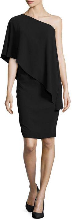 Carmen Marc Valvo One-Shoulder Cape Cocktail Dress, Black