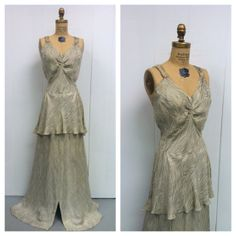 1930s Embroidered Gown 30s Silver Metallic by LostnFoundVintage, $350.00