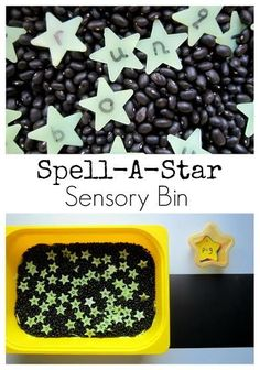 Sensory Bin Great sensory bin for preschool learning letter recognition and sight words! CVC and spelling!Great sensory bin for preschool learning letter recognition and sight words! CVC and spelling! Space Preschool, Space Activities, Preschool Classroom, Preschool Learning, Sensory Activities, In Kindergarten, Learning Activities, Preschool Activities, Space Classroom
