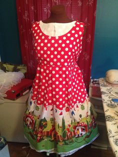 Gnome Dress  Michael Miller print  custom sizes by foureyedgirl