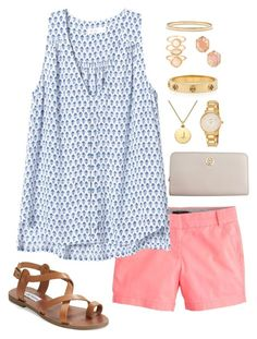 """""""heart of gold"""" by graciegerhart7 ❤ liked on Polyvore featuring J.Crew, Rebecca Taylor, Monsoon, Tory Burch, Kendra Scott, Kate Spade, Steve Madden and graciesfavorites"""