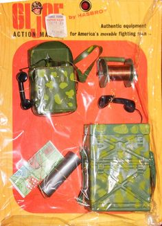 The Marine Communications set features one of the most highly sought-after variations in its earliest version, the small green camouflage field phone. Vintage Toys 1970s, 1960s Toys, Retro Toys, Childhood Games, Childhood Memories, Gi Joe, Radios, Big Blue Whale, Old School Toys