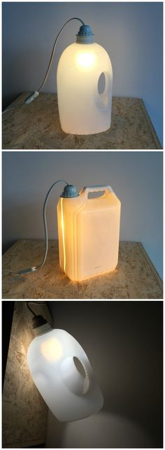 #Design, #Lamp, #PlasticBottle, #Recycled Made from a used plastic wash powder bottle. I made a hole in the bottom to place the lamp.