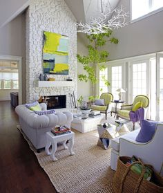 Fun Colorful Room Designed By Stephen Shubel. Great White with Pops of Green and Violet. Design Chic.