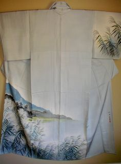 SALE SIGNED ART Kimono,Signed Handpainted Watercolor Vintage Japanese Silk Kimono,Shrine SeaShore Silk Kimono,Signed Watercolor Scene Kimono