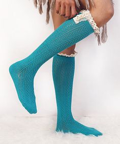 Loving this Turquoise Herringbone Button-Accent Knee-High Leg Warmers on #zulily! #zulilyfinds