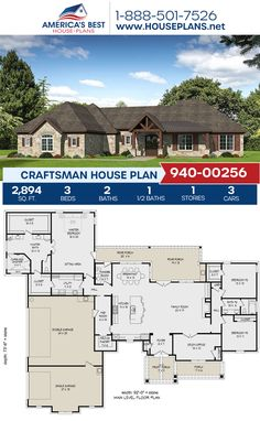 Full of beautiful details, Plan 940-00256 outlines 2,894 sq. ft., 3 bedrooms, 2.5 bathrooms, split bedrooms, an open floor plan, a home office, a mudroom, a sitting room, and a study. #craftsman #architecture #houseplans #housedesign #homedesign #homedesigns #architecturalplans #newconstruction #floorplans #dreamhome #dreamhouseplans #abhouseplans #besthouseplans #newhome #newhouse #homesweethome #buildingahome #buildahome #residentialplans #residentialhome Craftsman Style Homes, Craftsman House Plans, Best House Plans, Dream House Plans, Tiny House Living, My House, Building Plans, Building A House, Architectural Elements