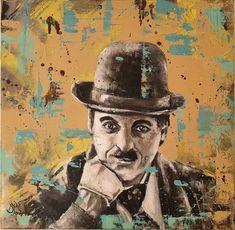 Charlie Chaplin Oil on canvas 40x40cm | Ponzellini Devis Charlie Chaplin, Oil On Canvas, Canvas Art, Original Paintings, Original Art, Figurative Art, Artwork Online, Buy Art, Saatchi Art