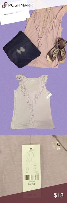Purple Tank with Ruffle Detail NY&Co. cotton tank top. Pale purple color with a ruffle detail around the neck and down the front. New York & Company Tops Tank Tops