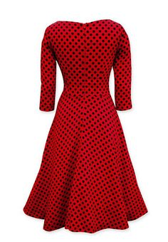 Long Sleeve Polka Dot  Vintage Dress with Bow