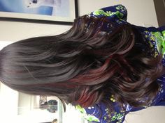 Red peek-a-boos on brunette hair. black and crimson hair hair, c Highlights Curly Hair, Hair Streaks, Brown Hair With Highlights, Red Peekaboo Highlights, Color Highlights, Balayage Hair, Hair Color Purple, Hair Color And Cut, Hair Color Underneath