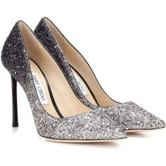 Jimmy Choo Romy 100 Glitter Pumps ($595) ❤ liked on Polyvore featuring shoes, pumps, silver, jimmy choo, silver glitter shoes, grey shoes, gray shoes and silver glitter pumps