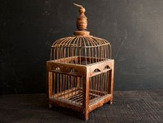 Vintage Wood and Metal Bird Cage- Rustic Farmhouse Wire on Etsy, Sold