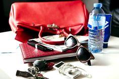 Inside a red Birkin bag