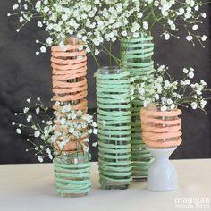 DIY mint and peach floral vase centerpieces, very neat Simple Centerpieces, Wedding Centerpieces, Wedding Decorations, Graduation Centerpiece, Quinceanera Centerpieces, Candle Centerpieces, Flower Vases, Flower Arrangements, Table Verte