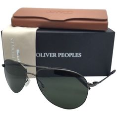 Pre-owned New Oliver Peoples Sunglasses Benedict Ov 1002s 5016/r5... ($350) ❤ liked on Polyvore featuring accessories, eyewear, sunglasses, aviator style sunglasses, uv protection sunglasses, green glasses, green sunglasses and aviator glasses