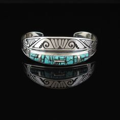 Geometric Turquoise Bracelet by Cecil Ashley (Navajo) in turquoise and sterling silver. Turquoise Jewelry, Turquoise Bracelet, Silver Jewelry, Silver Earrings, Vintage Turquoise, Navajo Jewelry, Southwest Jewelry, Rustic Jewelry, Stone Jewelry
