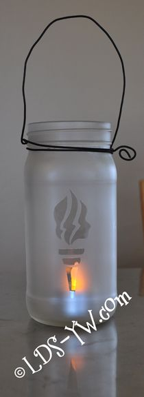YW Torch Lantern.  Perfect as a GIRLS CAMP craft!  Or for table decorations at special events (New Beginnings/YWIE) easy peasy