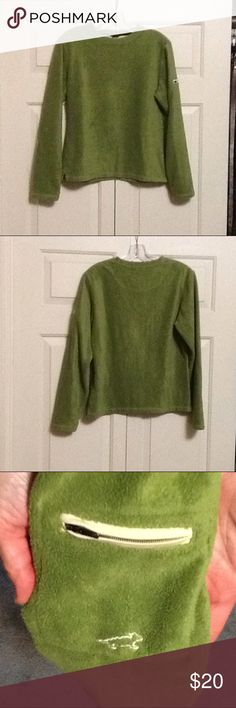 Horny Toad Fleece Pullover Very soft lightly used sporty pullover. Small pocket on left arm and side slits on bottom. Light olive green color. Horny Toad Sweaters
