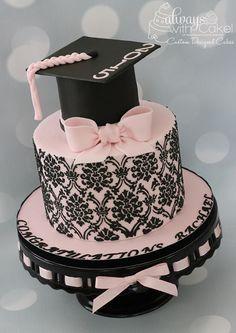 Damask Grad Cake by AlwaysWithCake