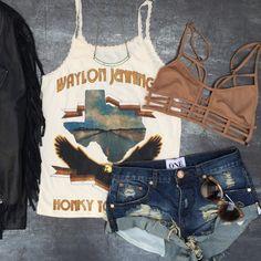 Sweet Little Nothin's   Midnight Rider Honky Tonk Hero Lace Tank + Tiger Bandits Shorts -Le Ritz Bodice www.shoproshambo.com #ootd #midnightrider #oneteaspoon #gypsethoney