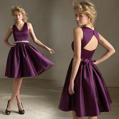 Cuello en V vestidos de honor Una línea Longitud de Vestidos para ocasiones especiales Vestidos de rodilla Satén Tela Party Mujeres cremallera Volver BD1084