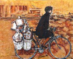 El lechero, obra perteneciente a la serie la España Antigua, costumbrista, realizada en dos tonos, acrílico sobre lienzo.