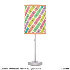 Colorful Skateboard Pattern Desk Lamp