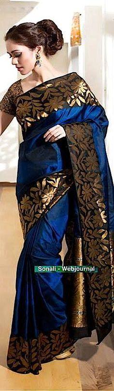 Handwoven silk with phulkari border from Rangoli India…