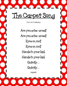 This is amazing! So to-the-point with expectations. Carpet time song.