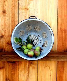 Vintage Metal Colander Graniteware Colander by happenstanceNwhimsy